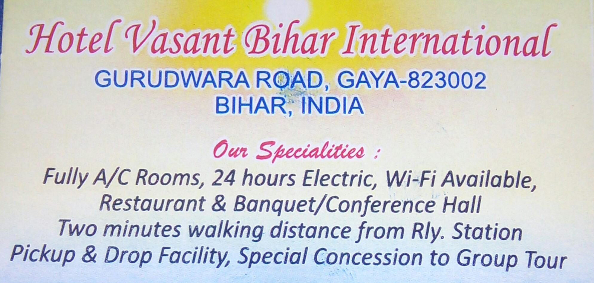 Hotel Vasant Bihar International